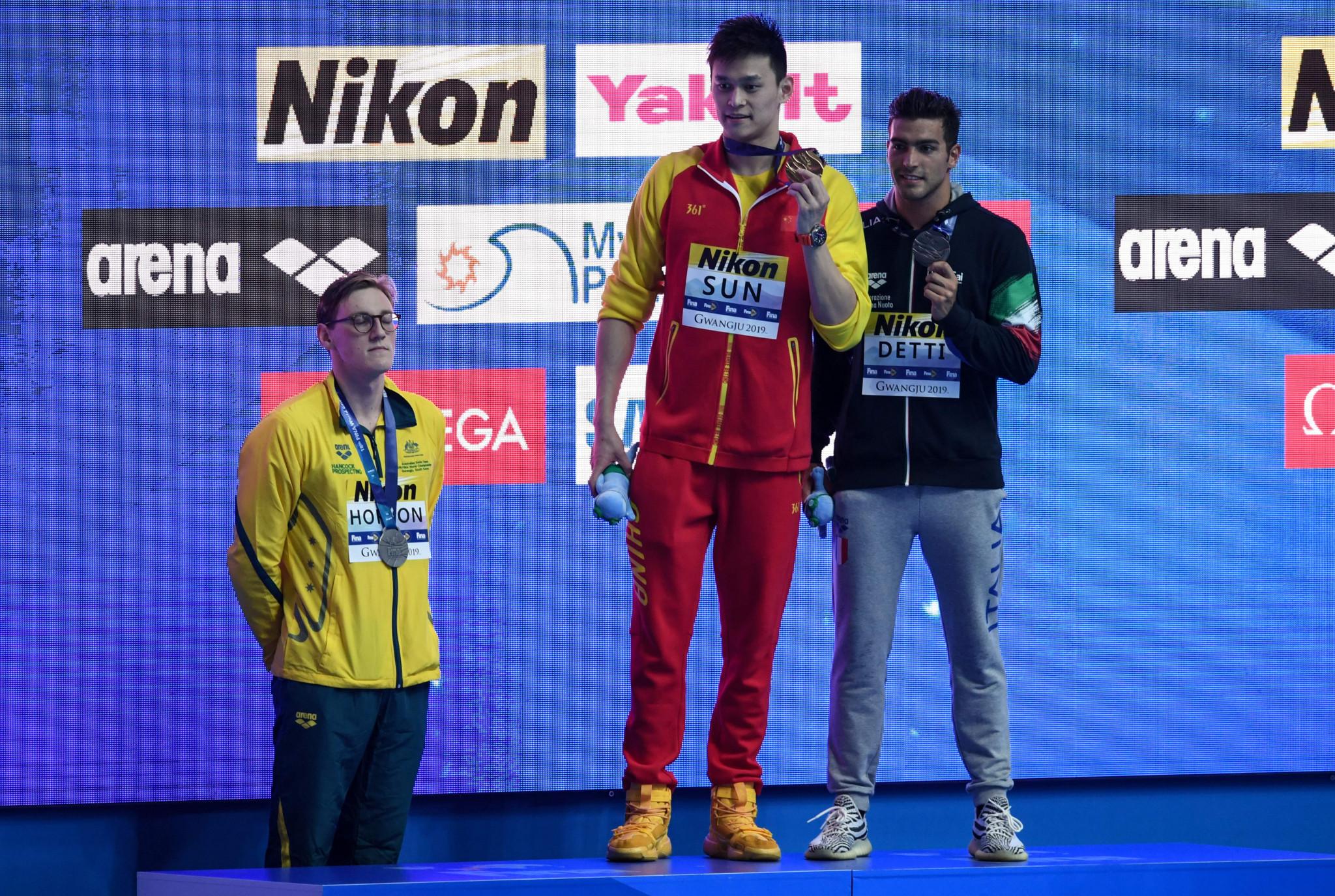 Mack Horton of Australia protested against China's Sun Yang at the World Aquatics Championships in Gwangju ©Getty Images