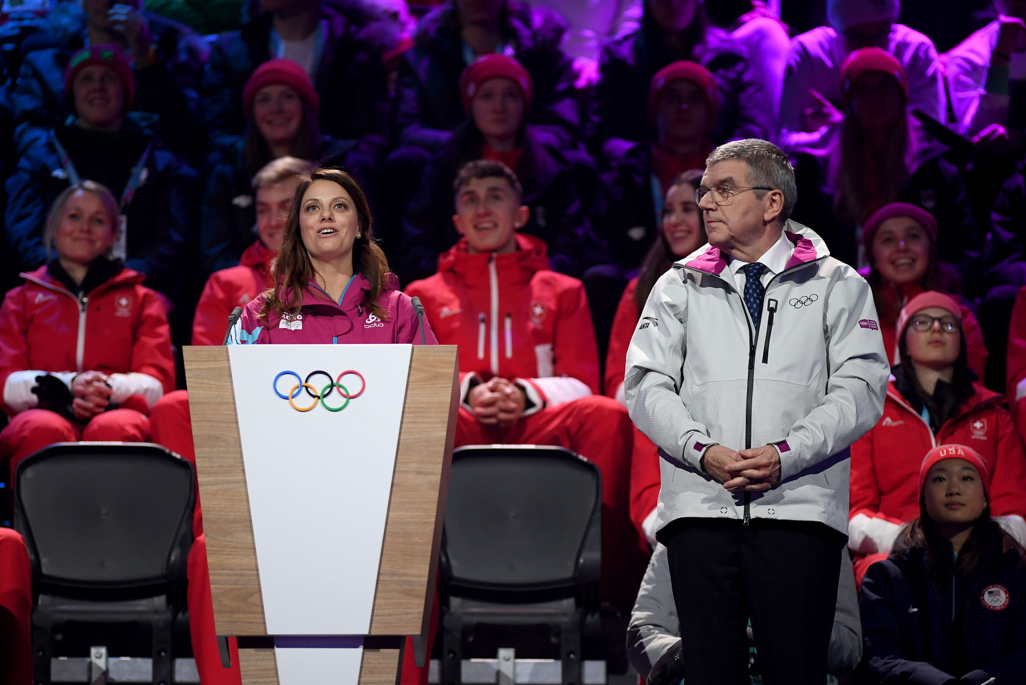 Lausanne 2020 President Virginie Faivre welcomed athletes competing at the Games ©Getty Images