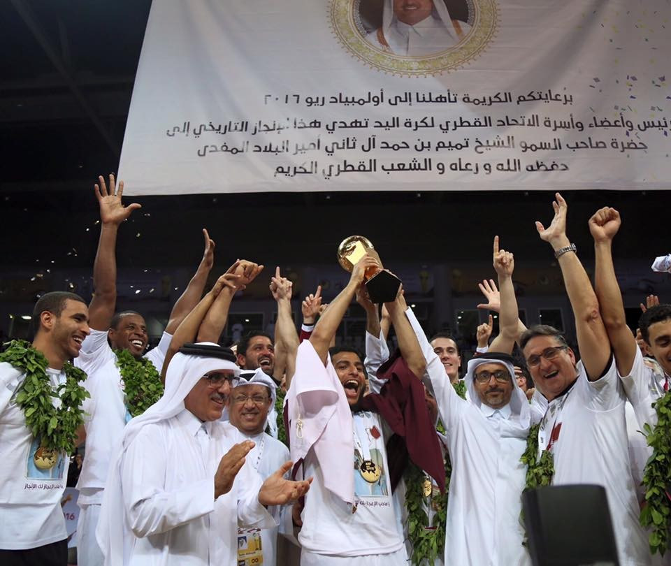 Qatar celebrate qualifying for the Olympic handball competition for the first time time ©QOC