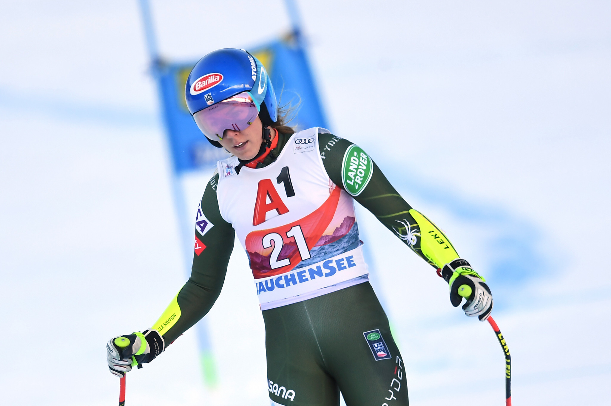 Mikaela Shiffrin failed to finish her first run in the Alpine combined event in the Austrian resort of Altenmarkt-Zauchensee yesterday ©Getty Images
