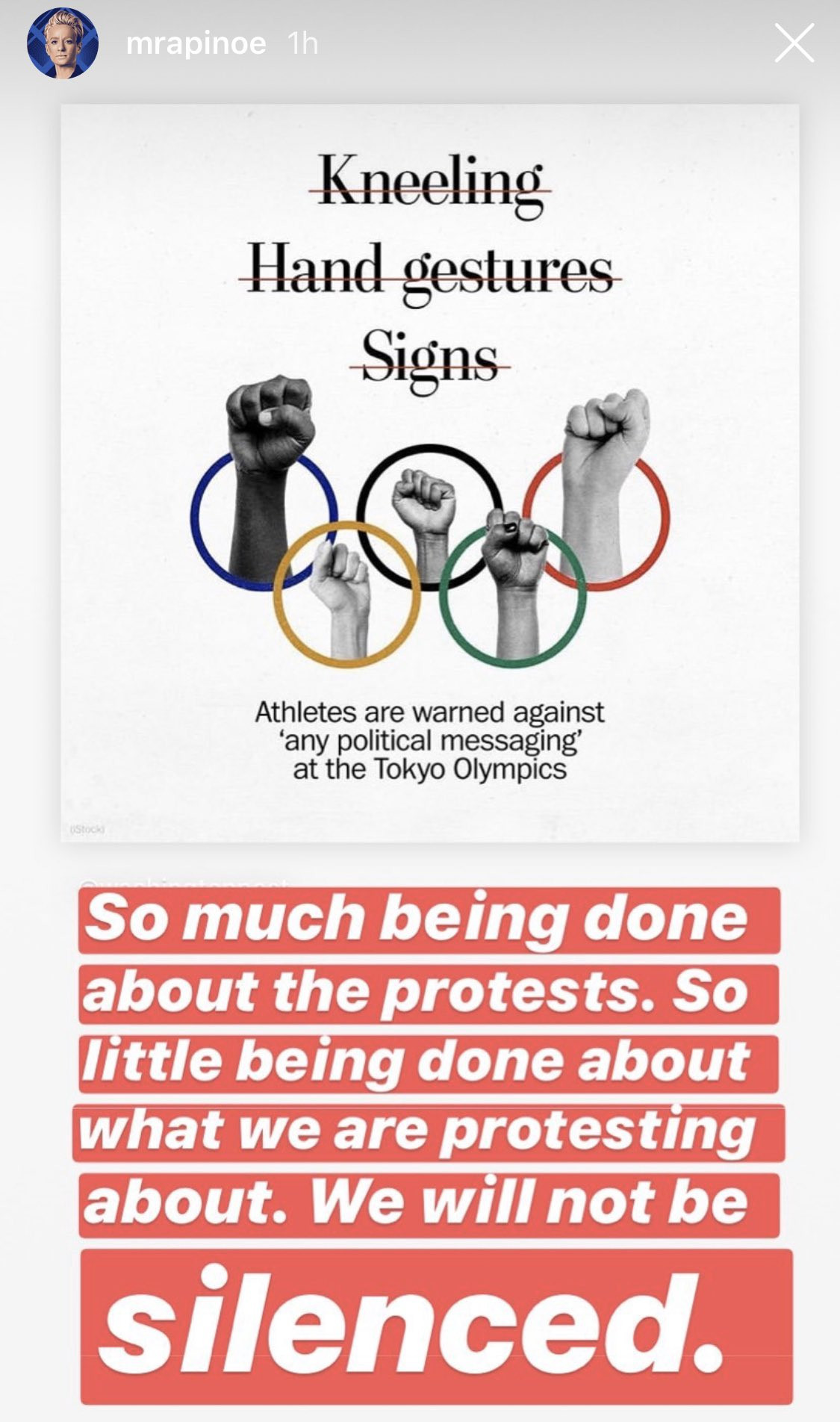 Megan Rapinoe criticised the IOC's stance on political neutrality Tokyo 2020 on social media ©Twitter