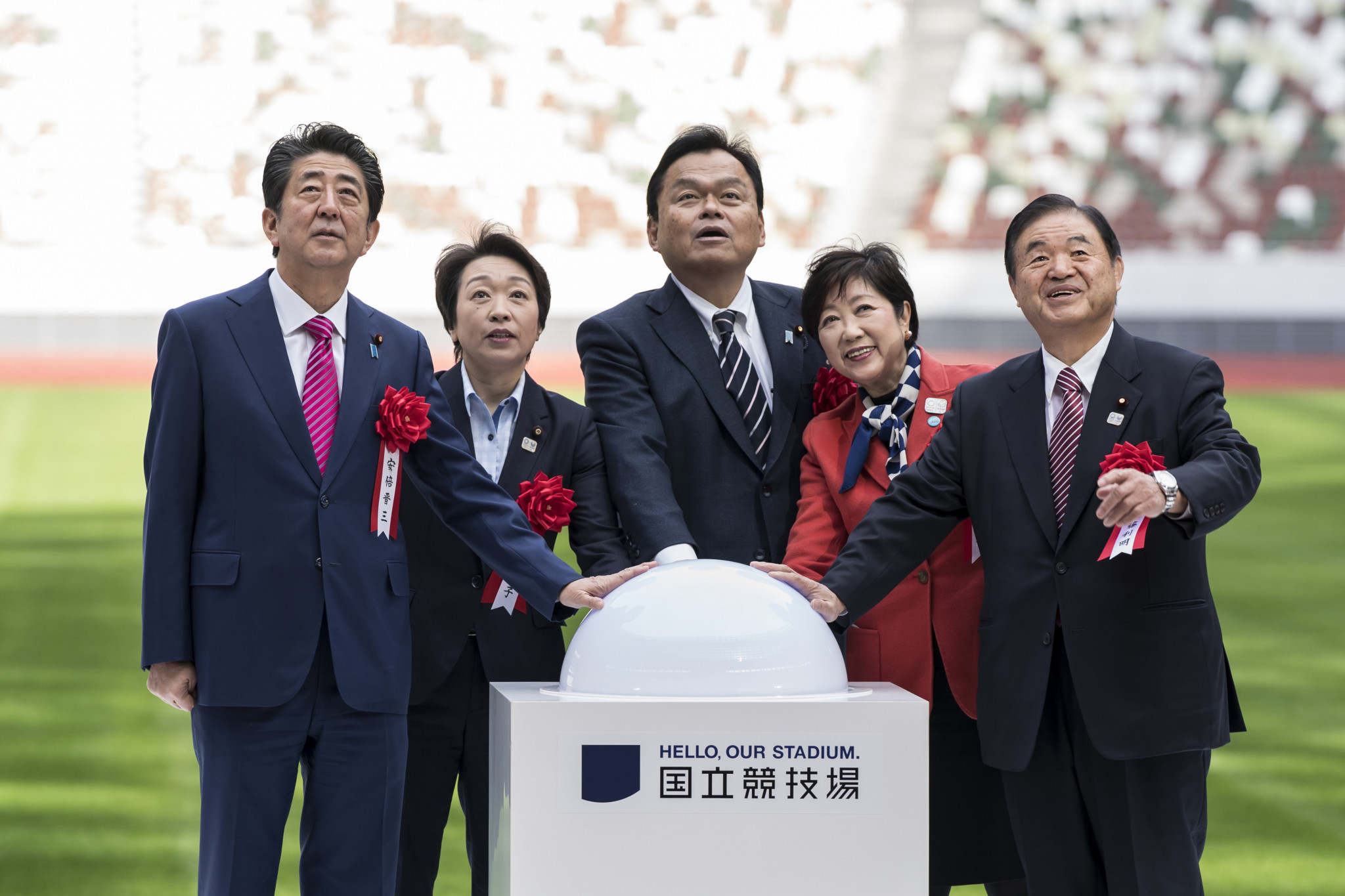 Shinzō Abe, pictured here on the left during the opening of Tokyo's New National Stadium last month, has hailed Tokyo 2020 as the