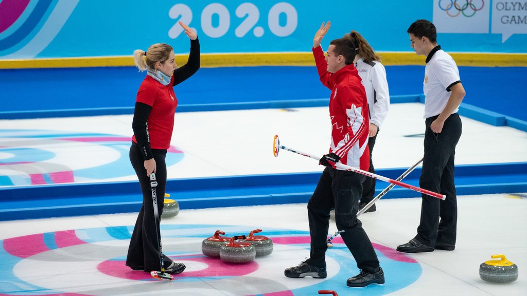 Hungary and Canada teamed up to win mixed NOC mixed team curling gold ©WCF