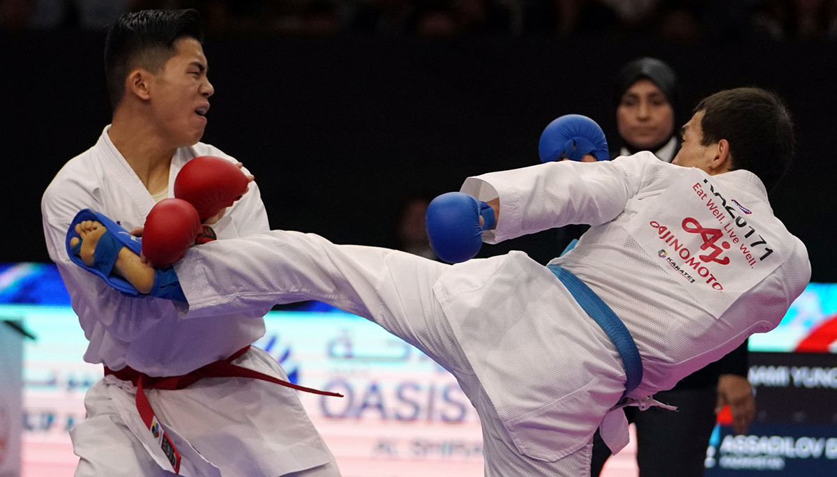 Kazakhstan's Darkhan Assadilov currently leads the men's under-67kg kumite Olympic standings ©WKF