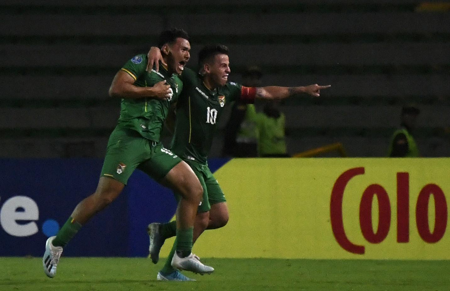 Bolivia striker Fernando Saldías celebrates scoring the last-gasp winner in in team's 3-2 win over Uruguay ©Getty Images