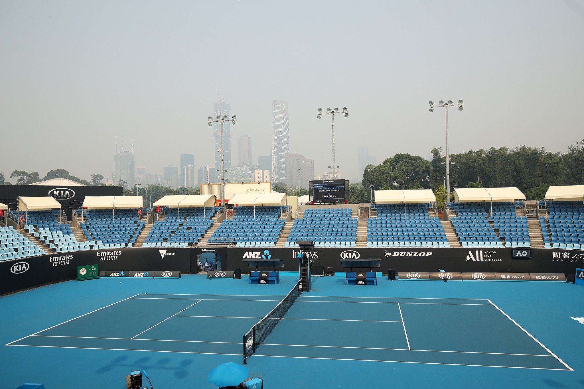 Smoke from the bushfires threatened to delay the start of the Australian Open, with some players struggling to breath in the preliminary rounds ©Getty Images