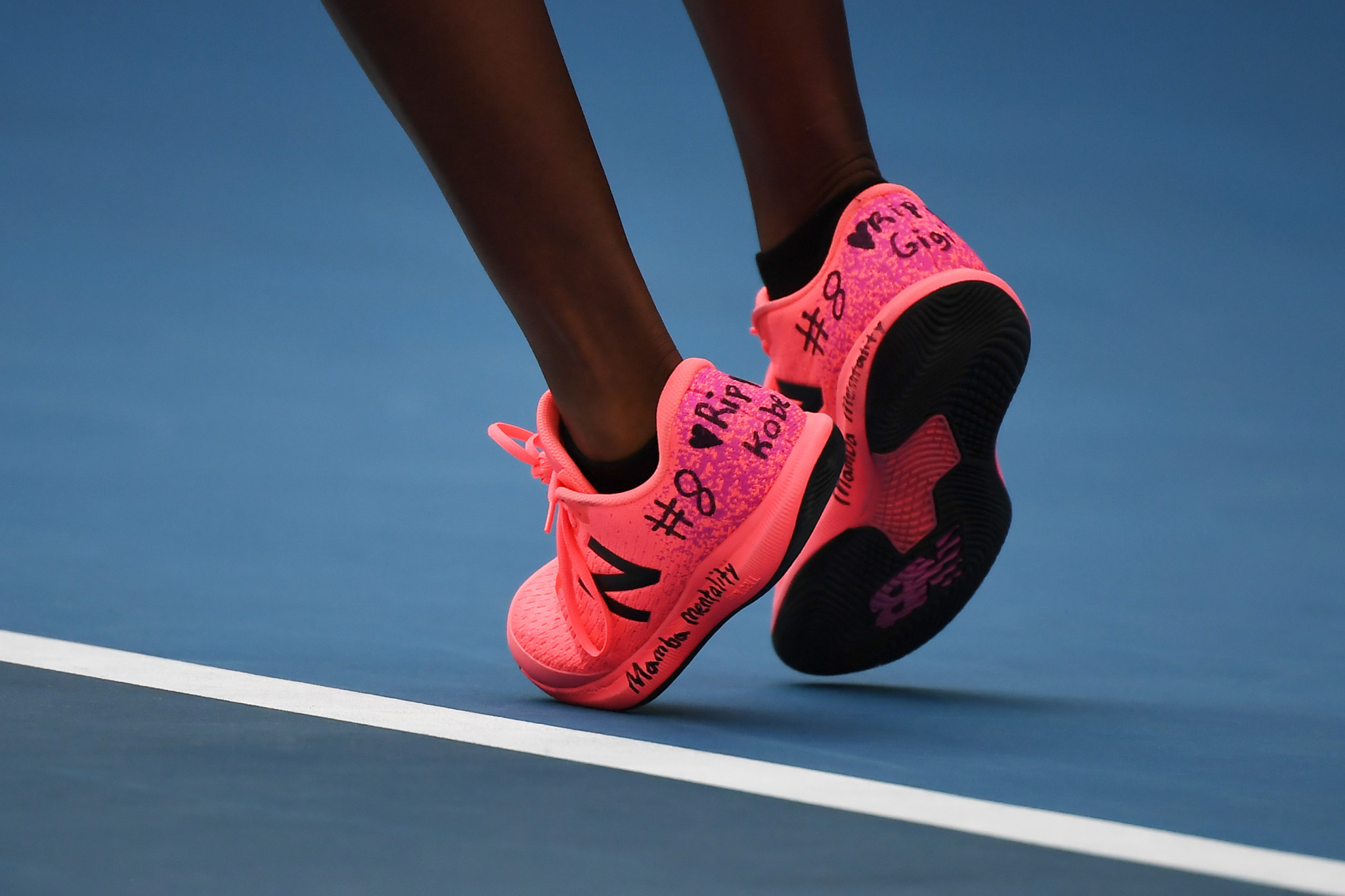 American tennis player Coco Gauff wrote a message of tribute to Kobe Bryant on her shoes during the Australian Open ©Getty Images
