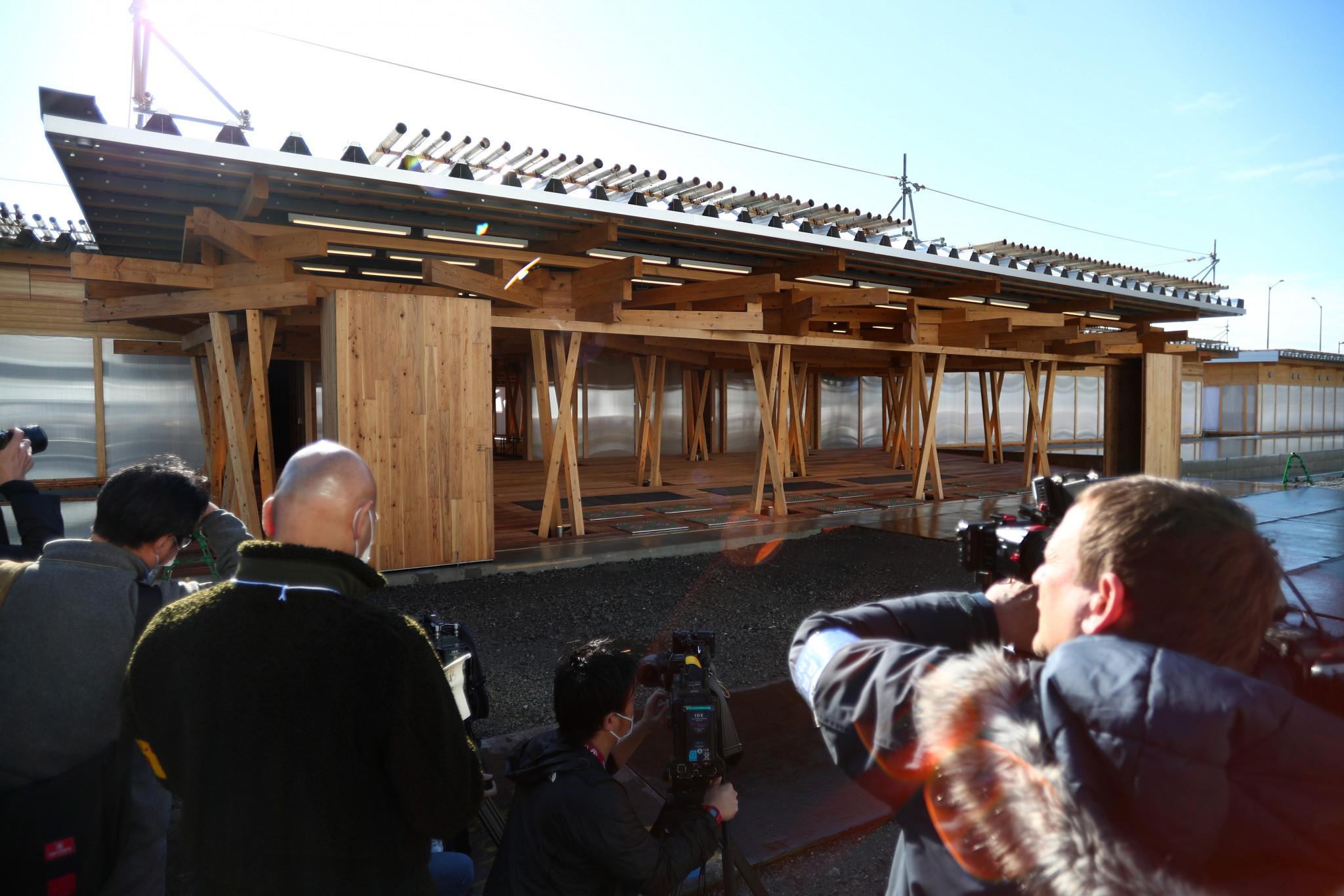 Tokyo 2020 hosts press tour of Plaza in Athletes' Village
