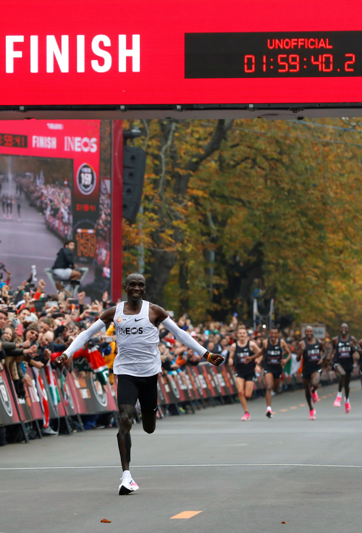 Eliud Kipchoge breaks the two-hour marathon barrier wearing a pair of Nike VaporFly shoes ©Getty Images