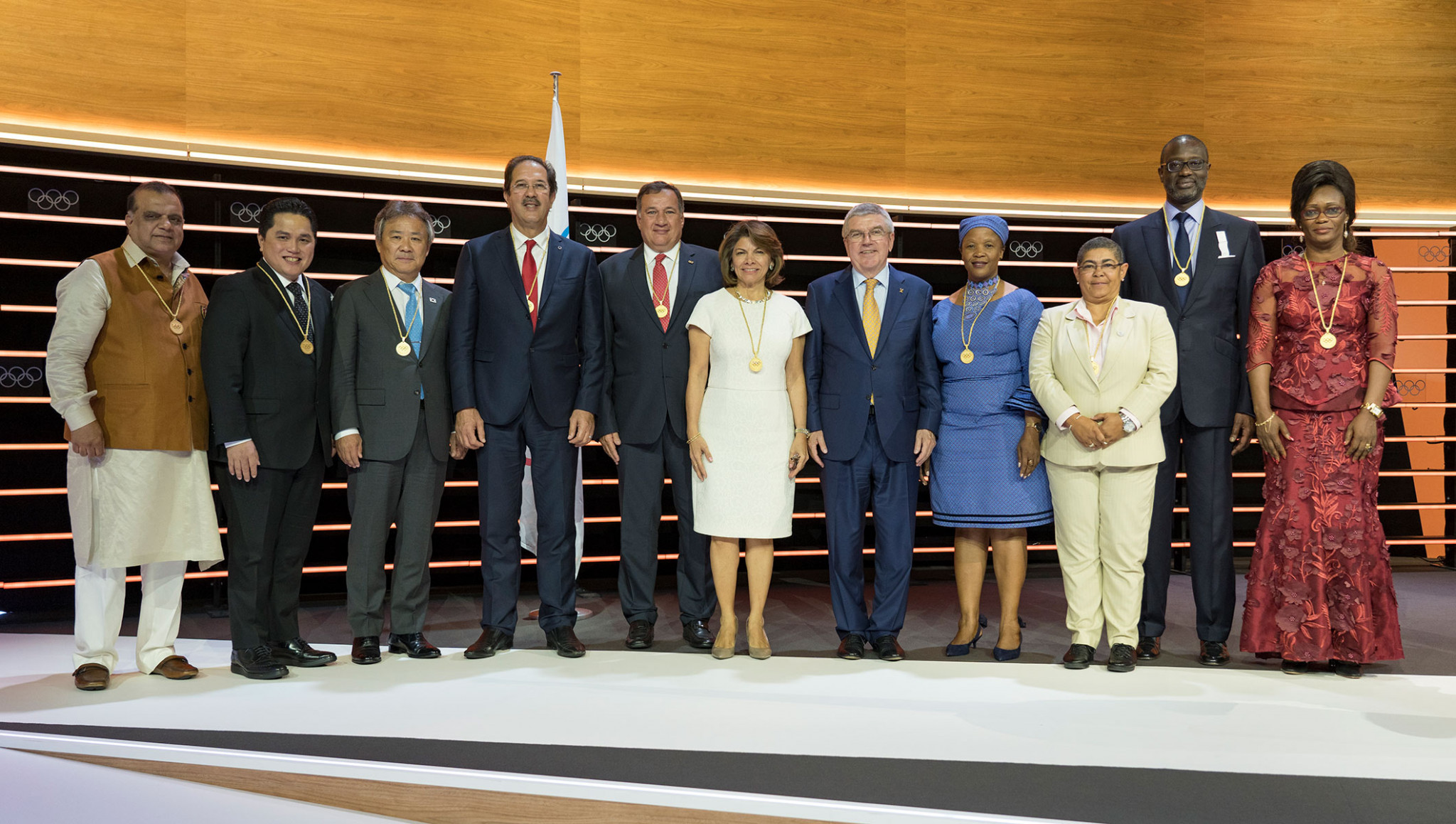 Tidjane Thiam, second right, was elected as an International Olympic Committee member in Lausanne last June ©IOC