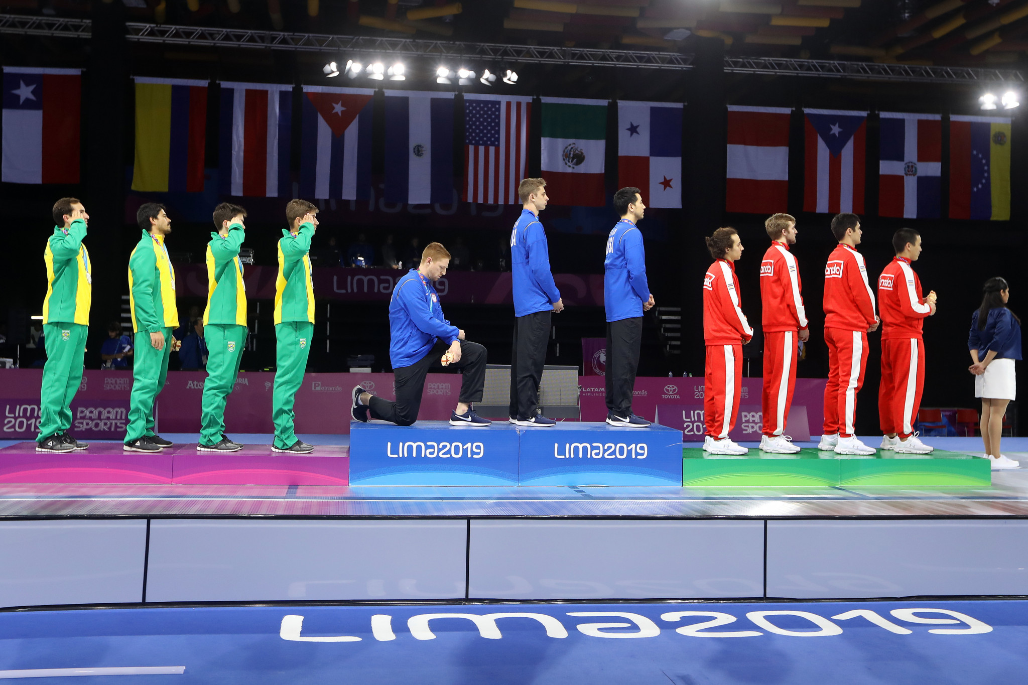 American fencer Race Imboden staged a podium protest at the 2019 Pan American Games in Lima ©Getty Images