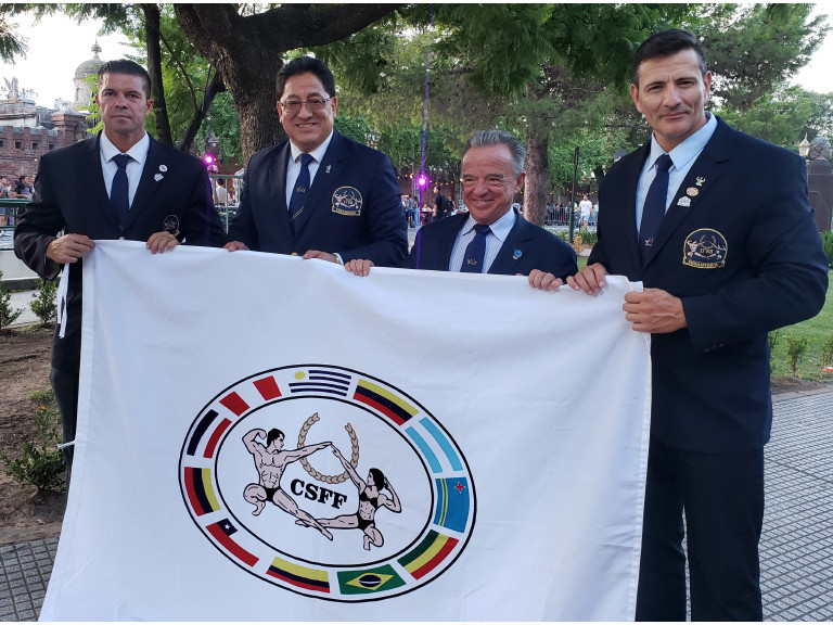 Flag handover to Argentina Bodybuilding and Fitness Federation marks countdown to South American Championships