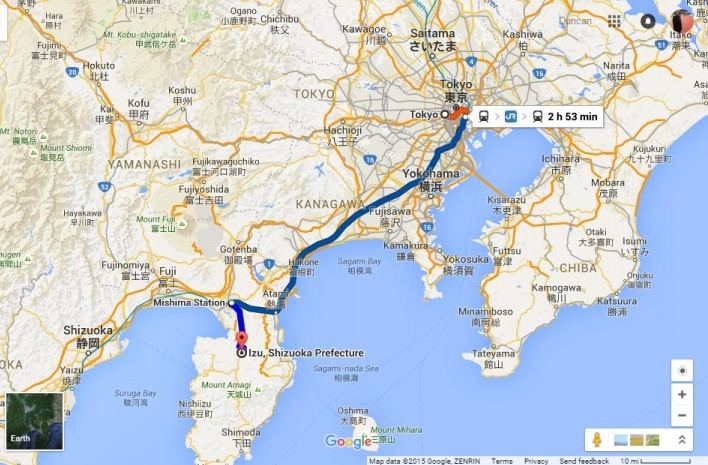 It will take competitors, officials and spectators nearly three hours to travel from Tokyo to Izu, where the track cycling the mountain biking will be taking place ©Google Maps