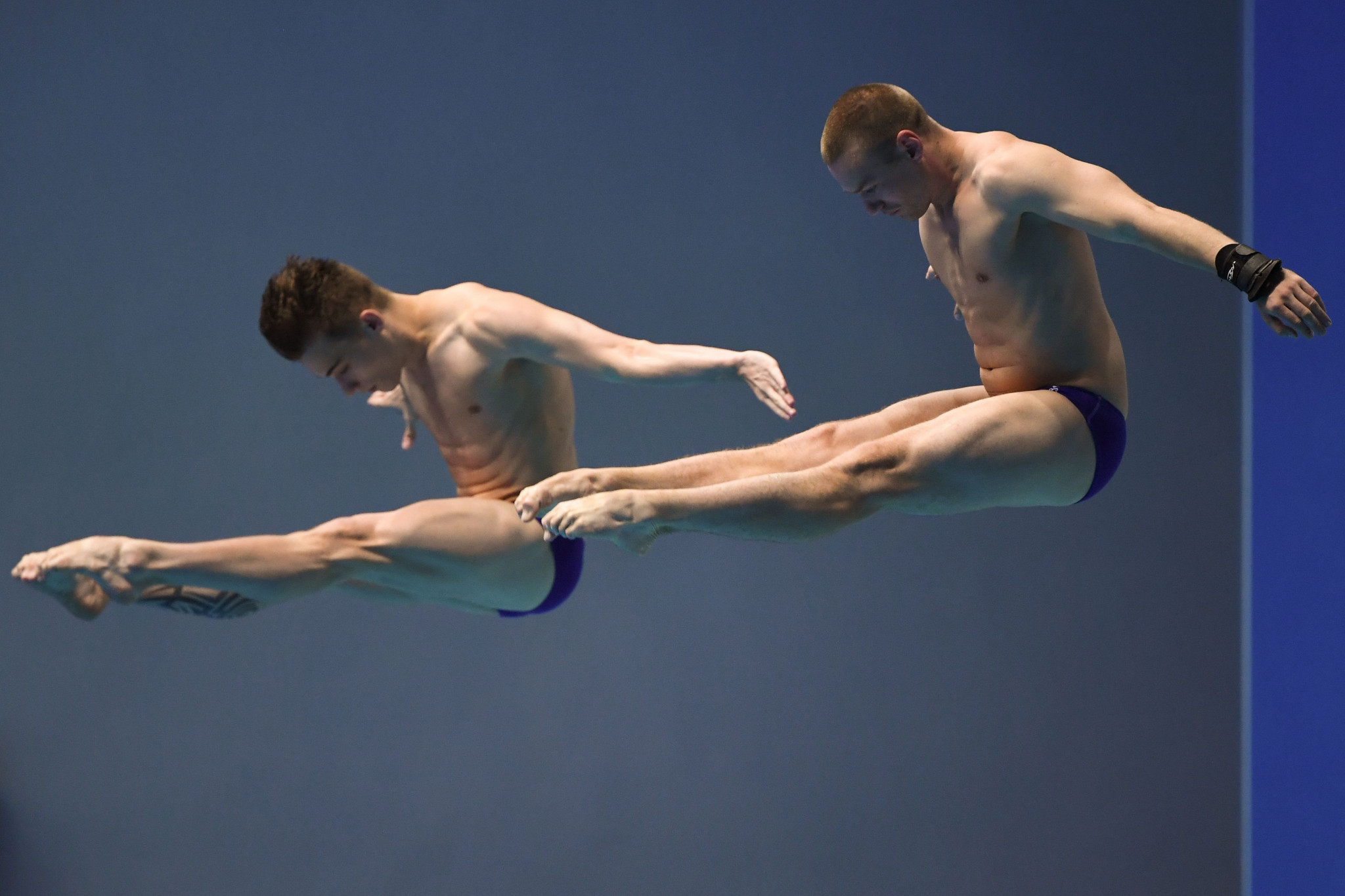 Evgeny Kuznetsov and Nikita Shleikher of Russia produced a commanding display to secure the men's 3m synchro springboard spoils ©Getty Images