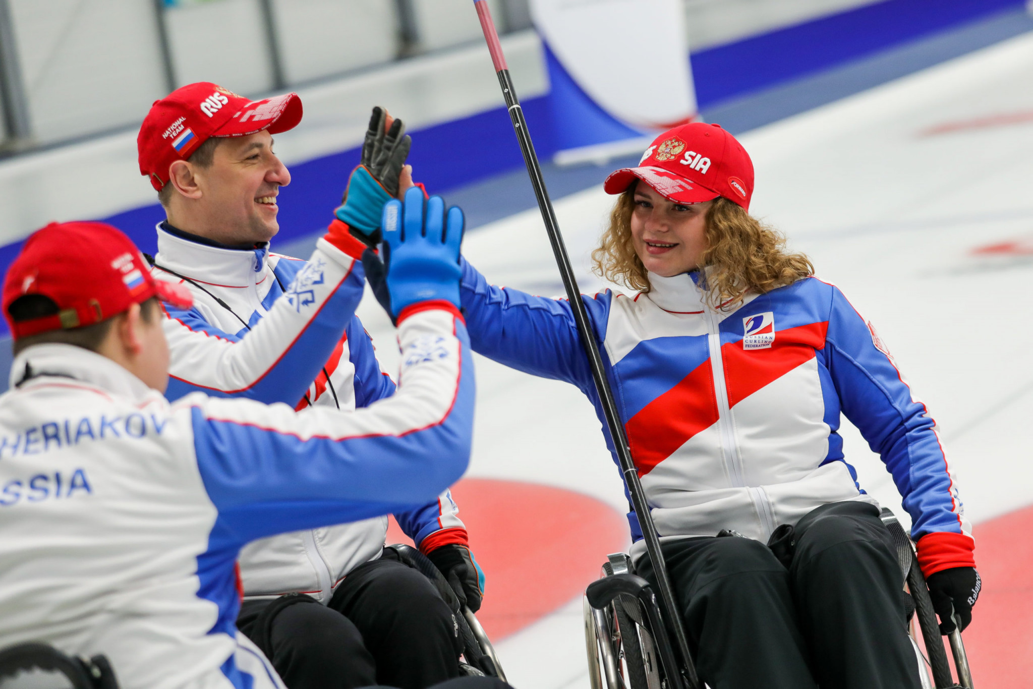 The Russian team in action at the World Wheelchair Curling Championships in Switzerland ©World Curling Federation