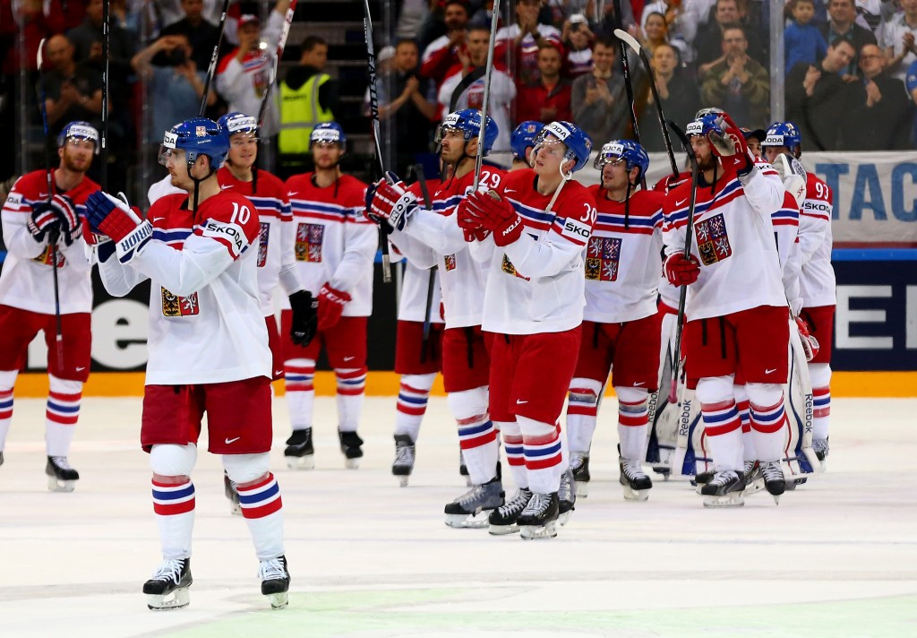 The Czech Republic players salute the sell-out crowd after beating Germany at the Ice Hockey World Championship in Prague ©Getty Images
