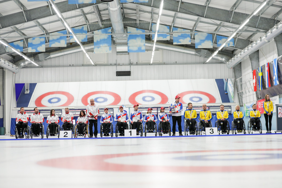 The podium at the World Wheelchair Curling Championship - gold for Russia, silver for Canada and bronze for Sweden ©World Curling Federation