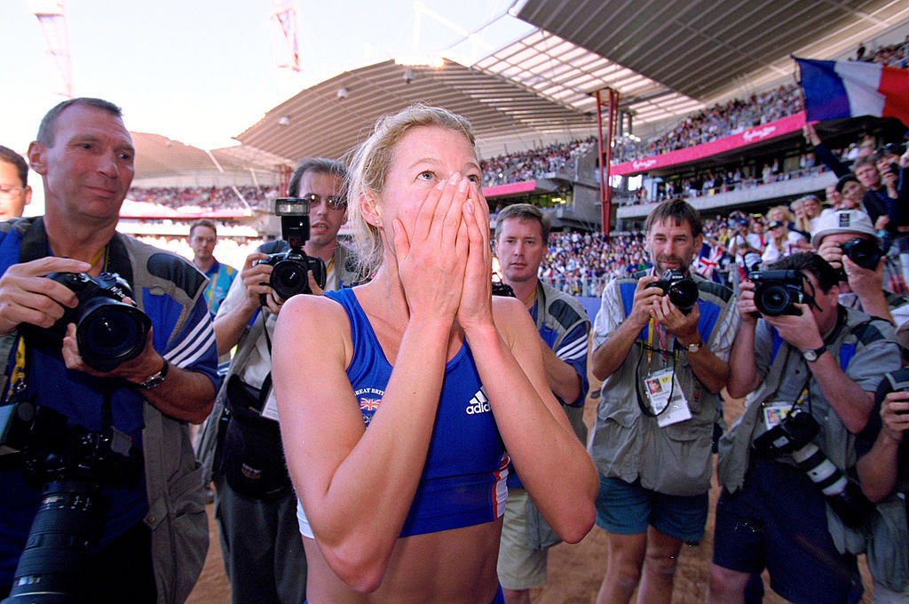 Britain's Steph Cook takes in the historic achievement of becoming the first woman to win  Modern Pentathlon Olympic gold at the 2000 Sydney Games ©Getty Images