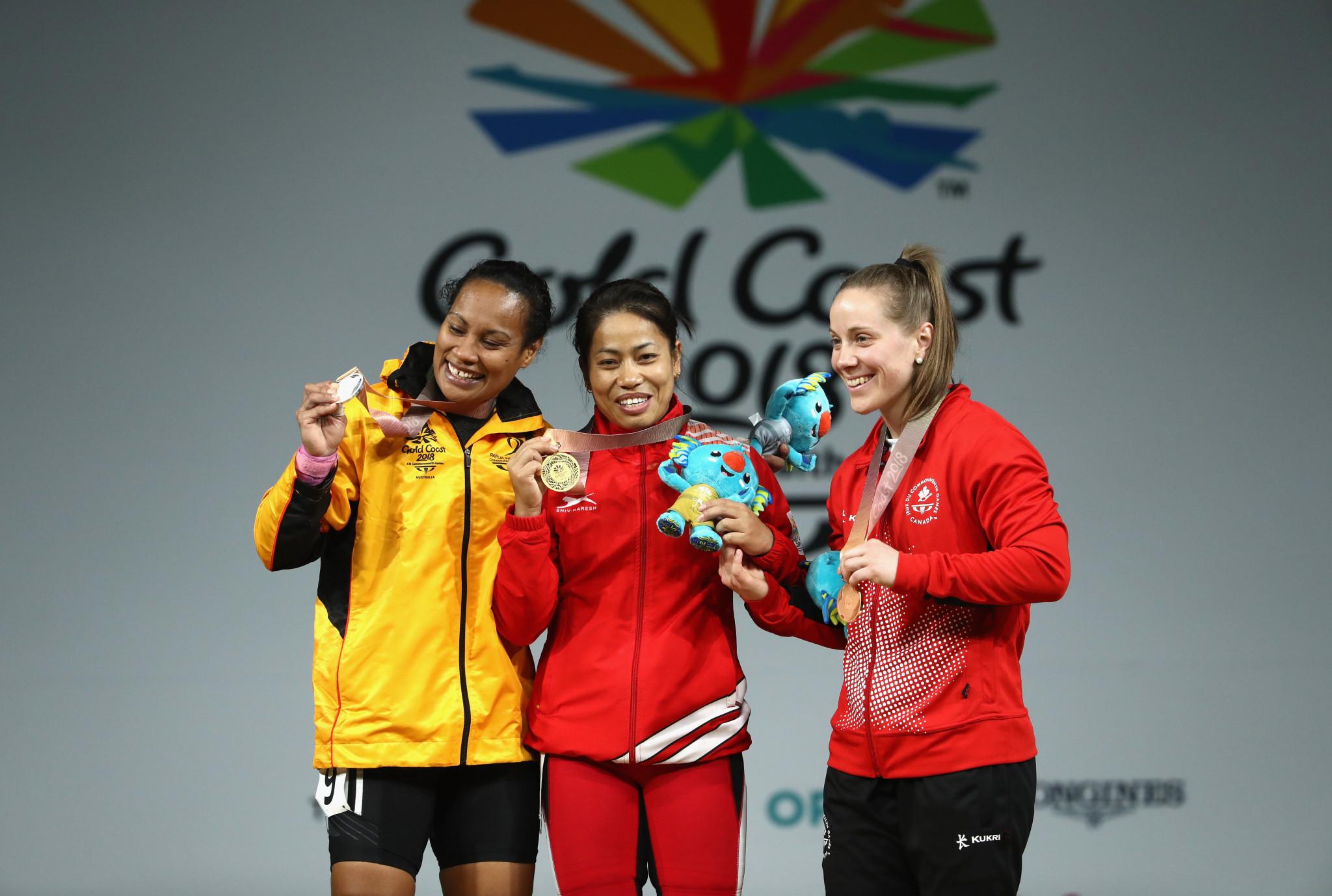 Dika Toua, left, on the Gold Coast 2018 podium ©Getty Images