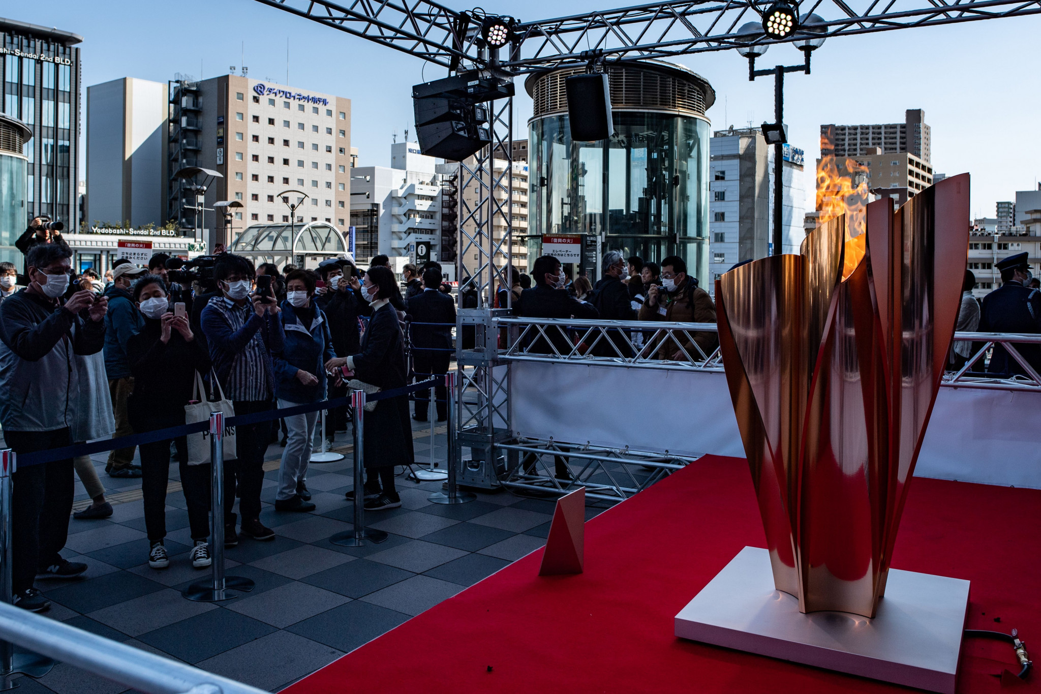 The Olympic Flame has been on display in Sendai ©Getty Images