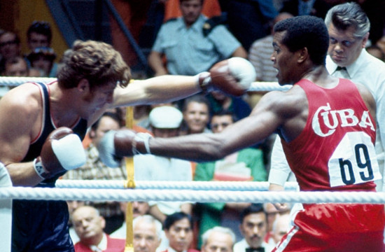 Boxing gloves with white hitting surface are used for the first time at the Olympic Games in Munich ©Getty Images