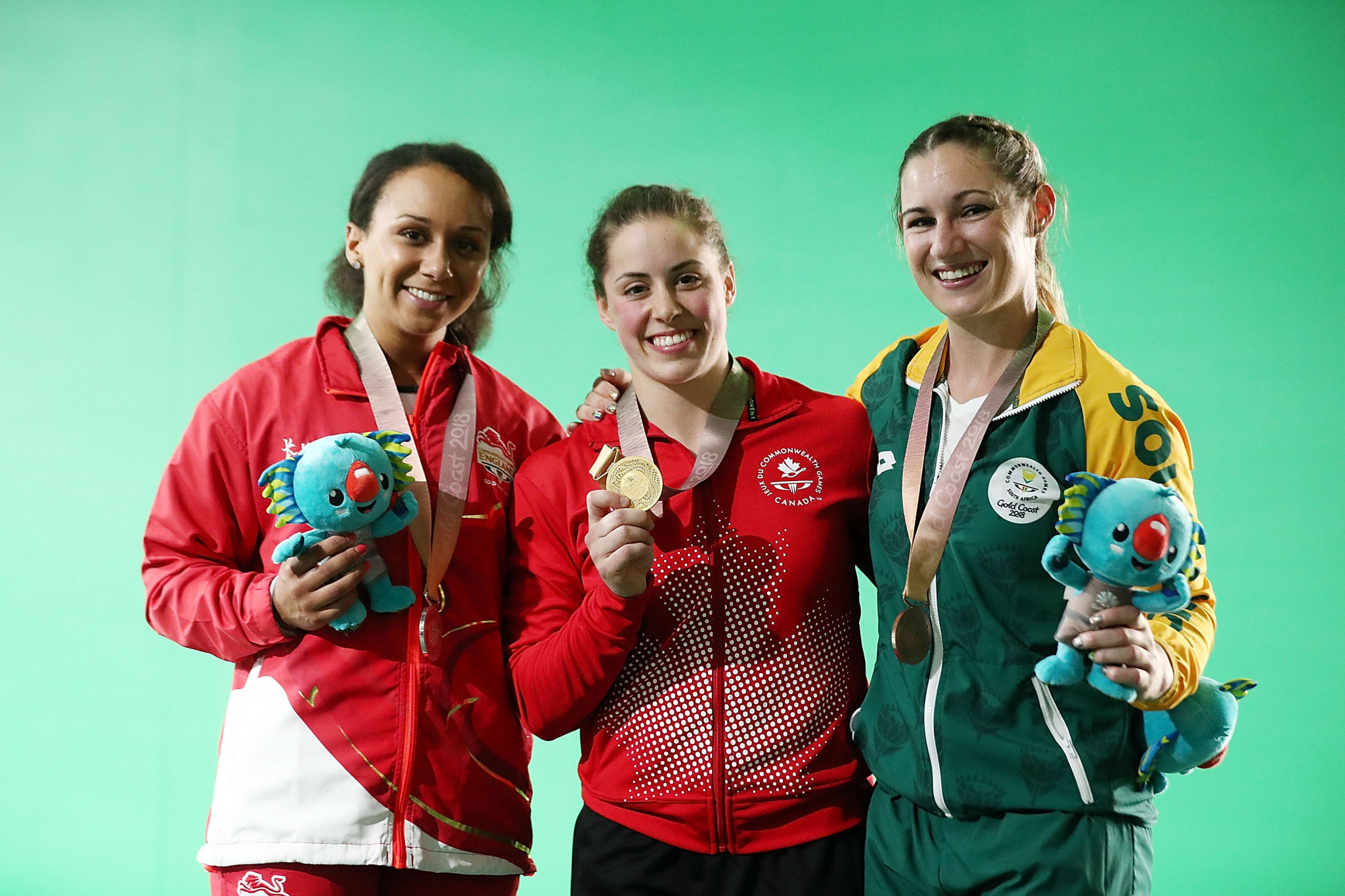Maude Charron, centre, won gold at the 2018 Commonwealth Games ©Getty Images