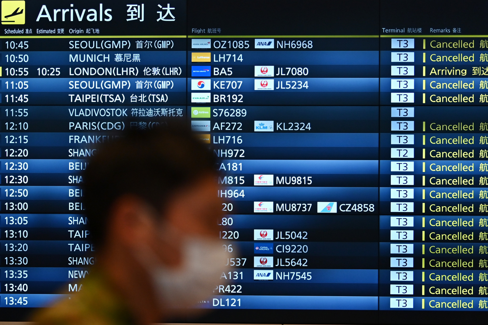 Numerous flights in and out of Tokyo have been cancelled ©Getty Images