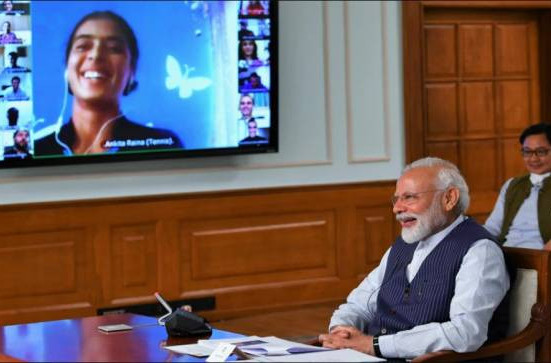 Indian Prime Minister Narendra Modi met with 40 sportspeople over video call including two Indian Para-athletes ©Paralympic Committee of India