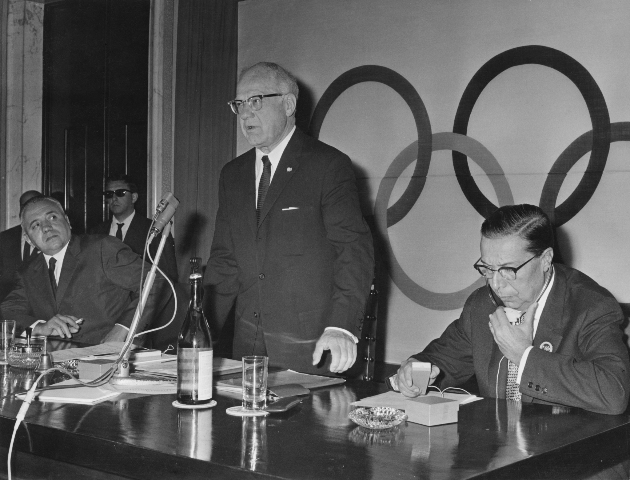 Avery Brundage (standing) was IOC President at the time that lifetime bans were issued to Matthews and Collett ©Getty Images