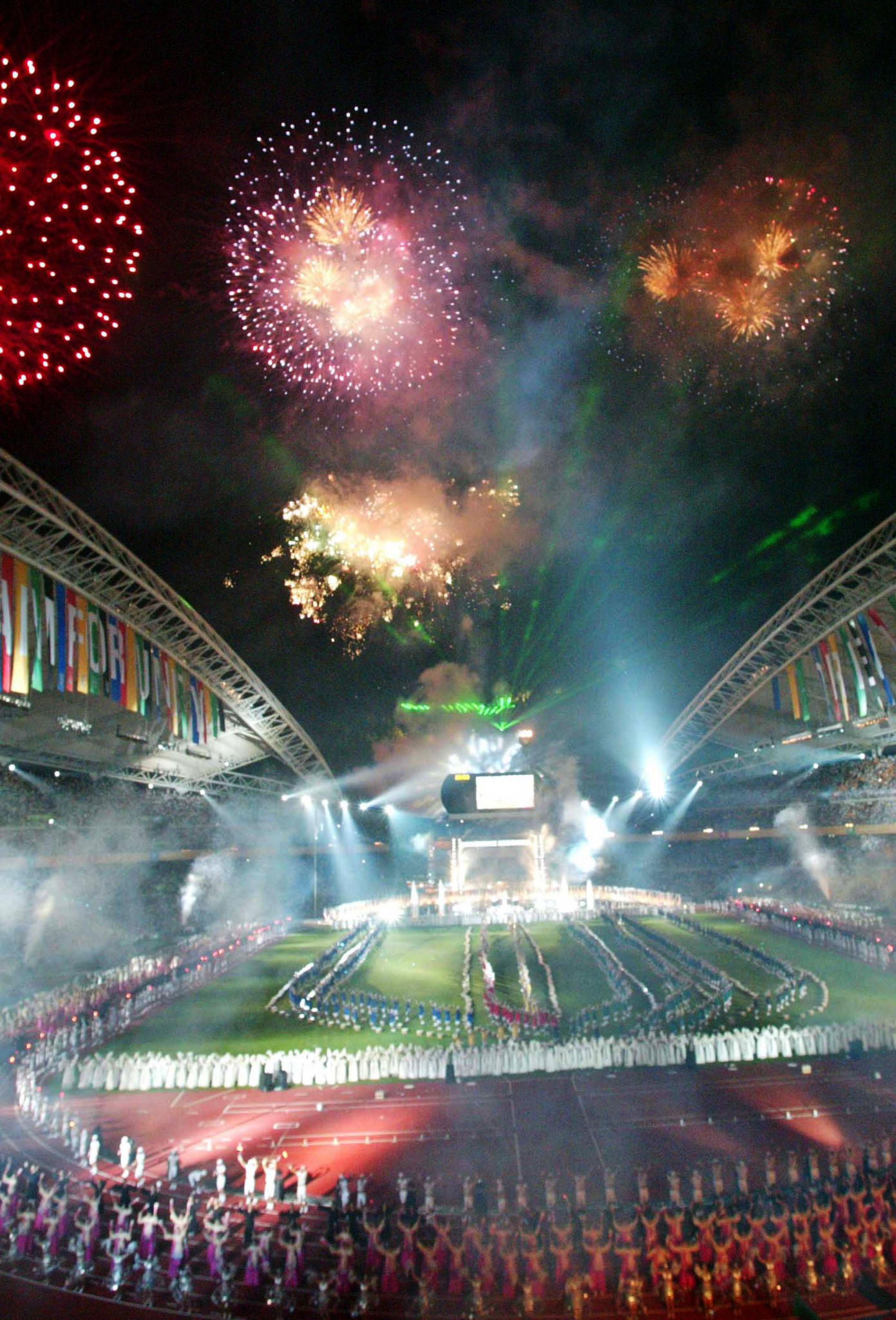 Fireworks explode during the opening ceremony of the 22nd Summer Universiade Games August 21, 2003 in Daegu, South Korea. ©Chung Sung-Jun/Getty Images