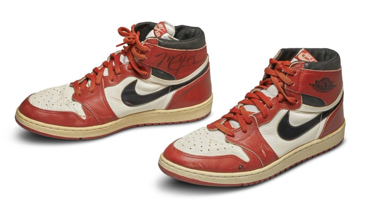 A pair of trainers worn by Michael Jordan during his rookie season at the Chicago Bulls have sold for a record $560,000 at auction ©Sotheby's