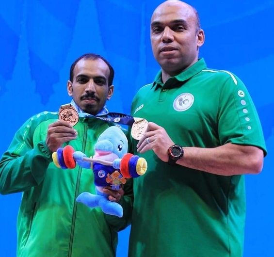 Khaled Korany, right, last September with Saudi Arabian IWF World Championships bronze medallist Mansour Al Saleem ©Khaled Korany