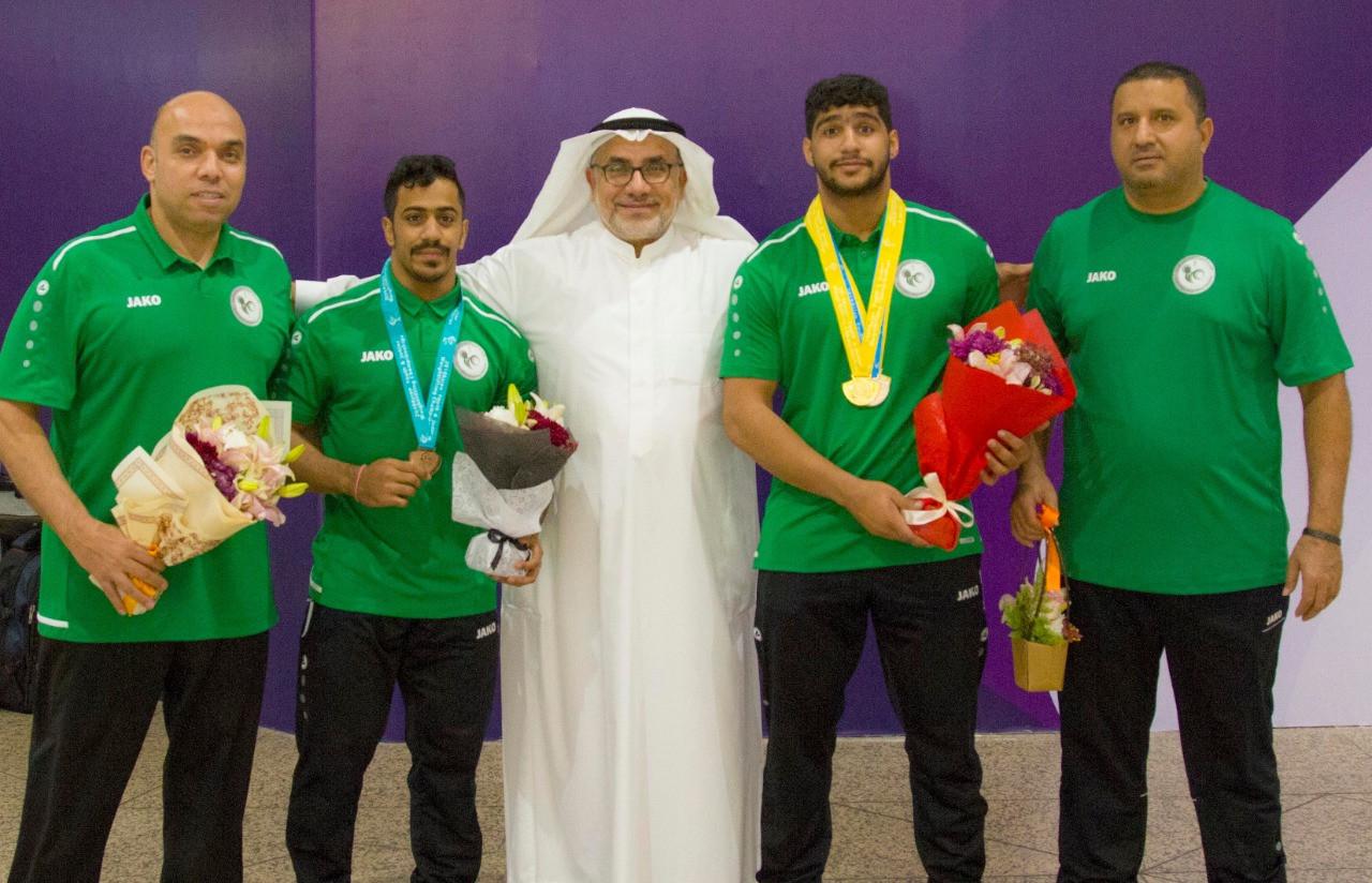 Khaled Korany, left, in his previous coaching role with Saudi Arabia ©Khaled Korany