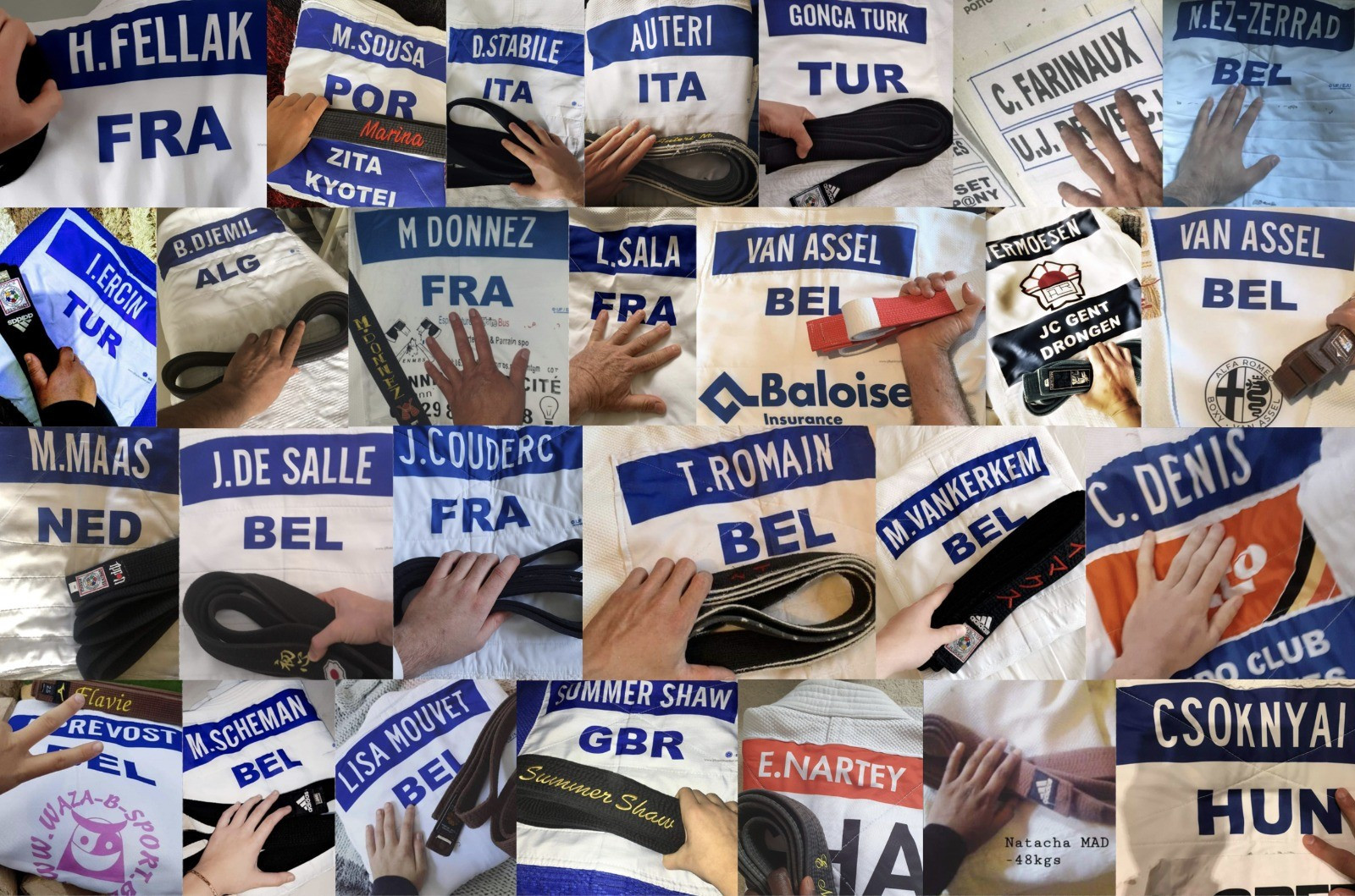 Judokas from around the world have given their support to healthcare workers by sending pictures of their uniforms ©IJF