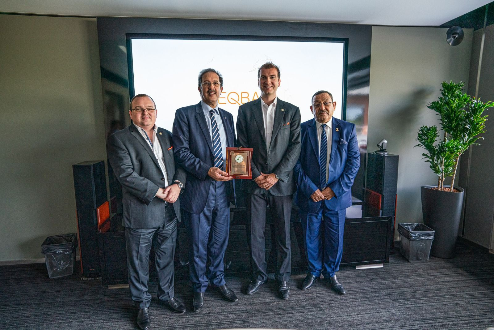 Marius Vizer Jr presented teqball tables to ANOCA President Mustapha Berraf and other officials