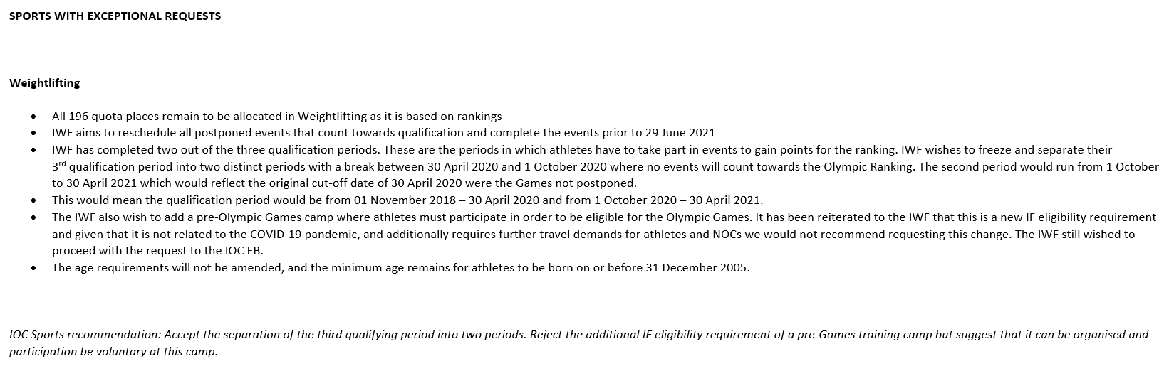 Documents seen by insidethegames show the updated weightlifting qualification process for Tokyo 2020