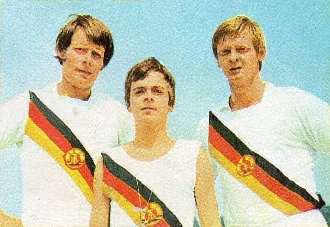 Gunkel (right) with teammates Lucke and cox Dieter-Naubert following their Olympic gold at the Munich 1972 Games ©Wikipedia