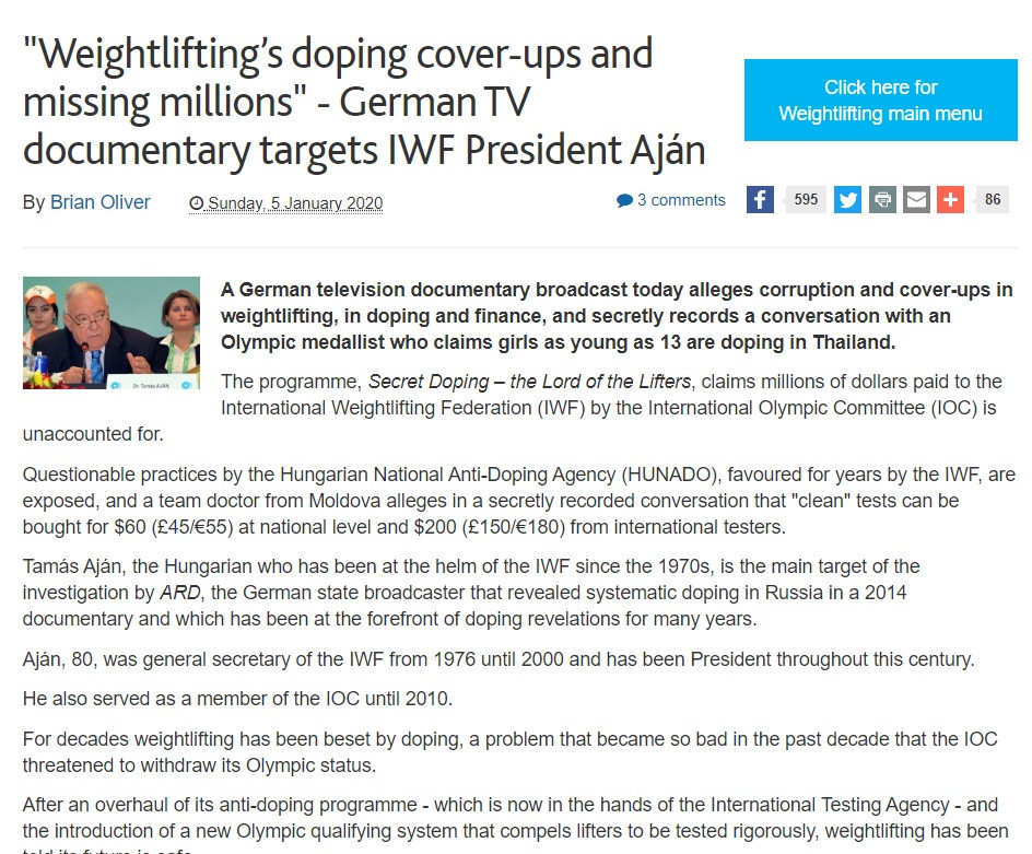 insidethegames story about the German TV documentary was the start of five turbulent months for weightlifting ©ITG