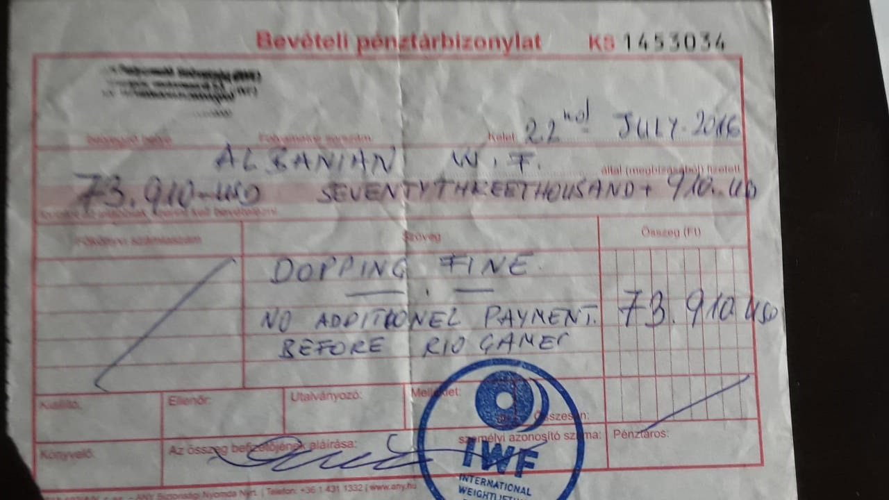 A receipt for the doping fine Albania paid to the IWF ©Agron Haxhihyseni