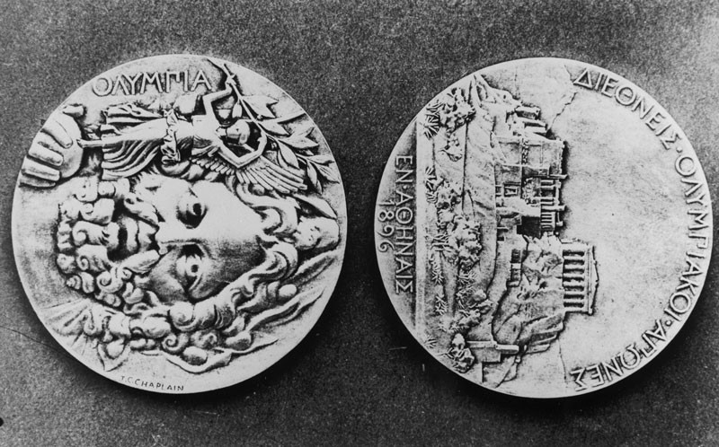 The Olympic Medals from the 1896 Games in Athens, the First Olympic Games of the Modern Era. © Photo by Getty Images.