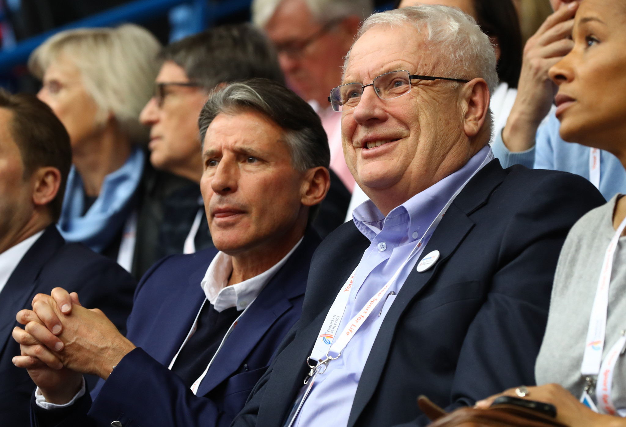 European Athletics President Svein Arne Hansen, who died on Friday, pictured alongside World Athletics President Sebastian Coe watching the sport to which he gave so much of his life ©Getty Images
