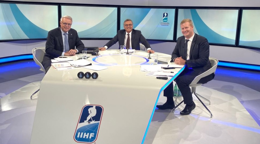 IIHF President Rene Fasel (centre) is to have his term as IIHF President extended following the postponement of the organisation's Semi-Annual Congress ©IIHF