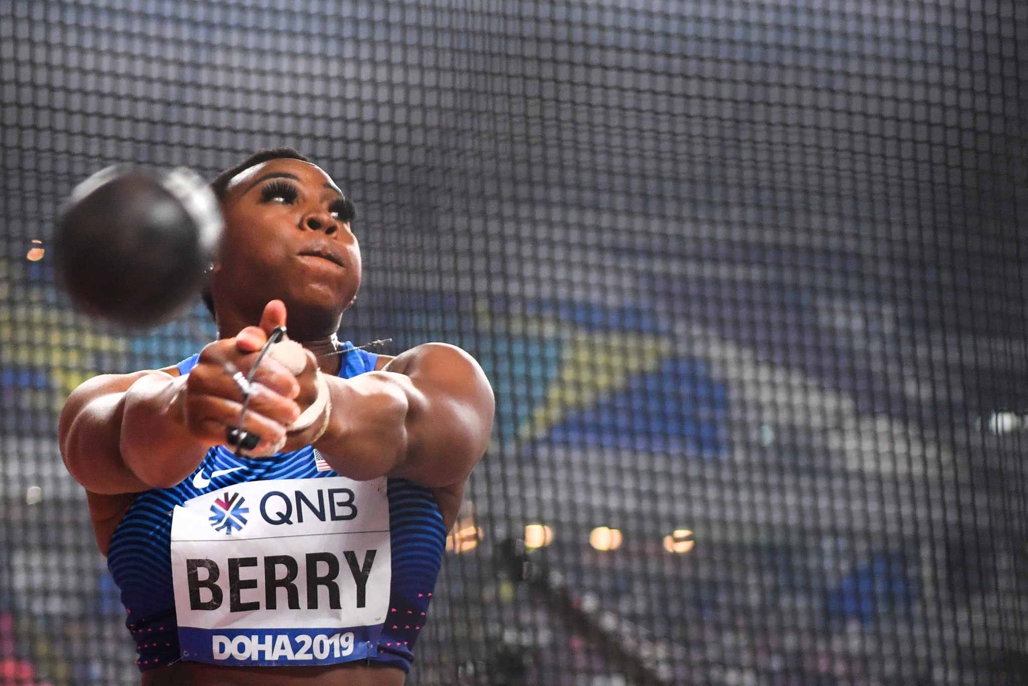 American hammer thrower Gwen Berry claimed her omission from the USATF Foundation grant list is punishment for staging a podium protest ©Getty Images
