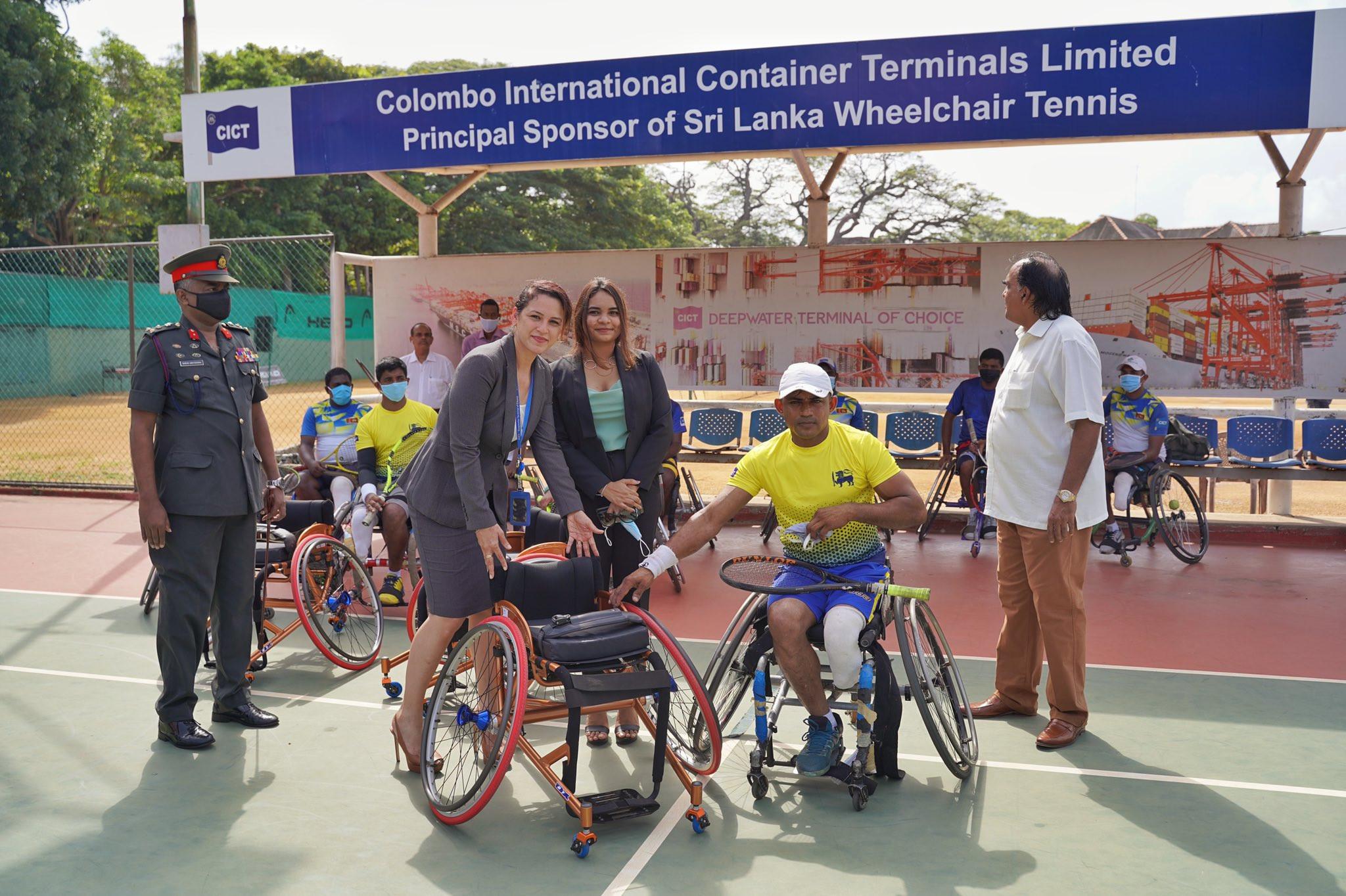 Shipping companies donate wheelchairs to Sri Lankan tennis players