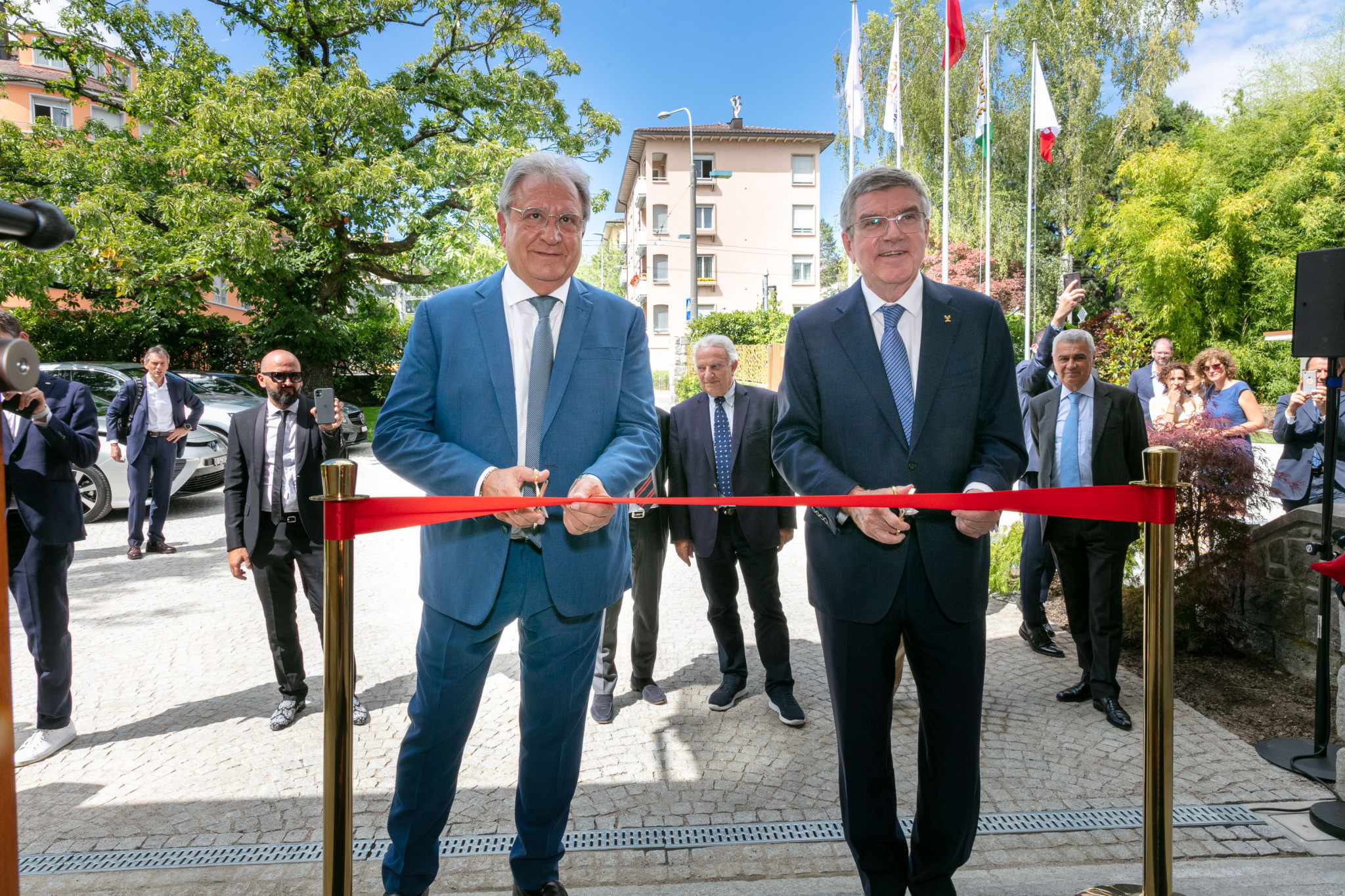 IOC President Thomas Bach attended the official opening of the new WBSC headquarters in Pully ©WBSC