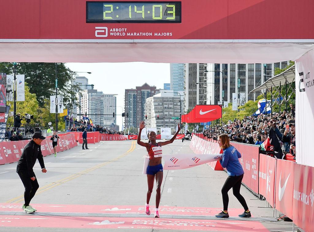 Brigid Kosgei broke the women's world record at the 2019 Chicago Marathon ©Getty Images