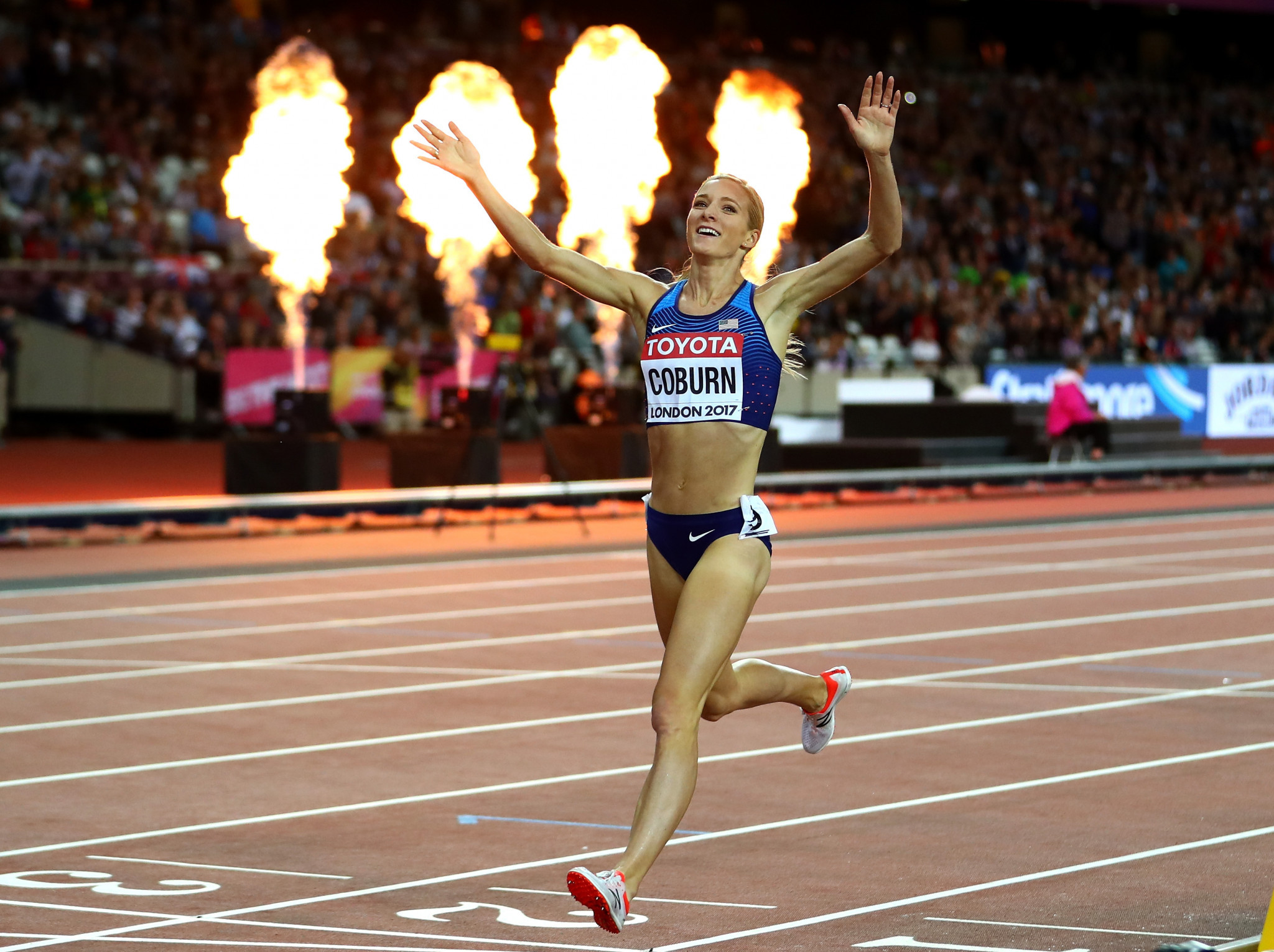 Emma Coburn won the 3,000m steeplechase title at the 2017 World Athletics Championships ©Getty Images