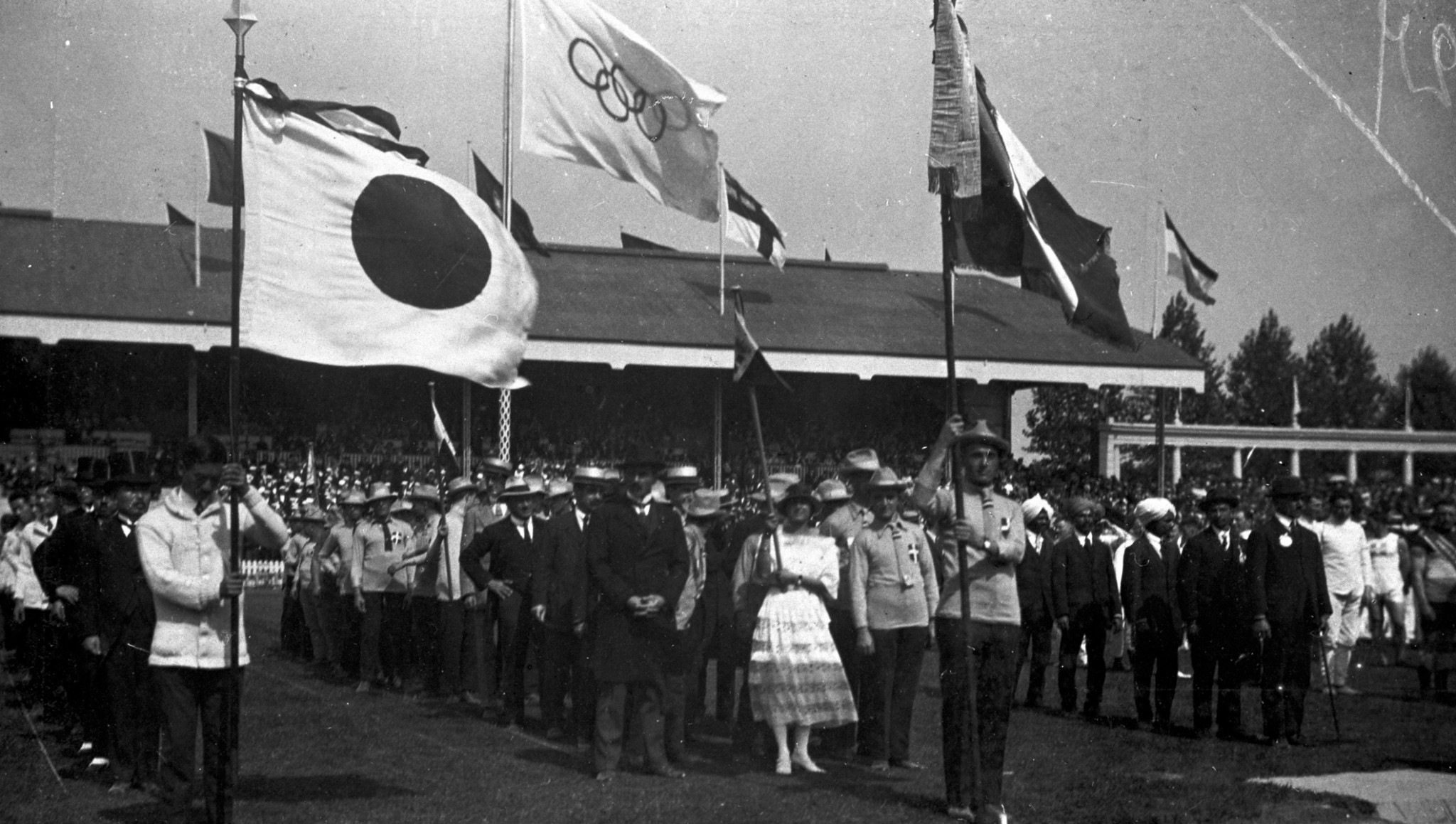 The Olympic flag was flown for the first time publicly at the 1920 Olympic Games in Antwerp ©IOC