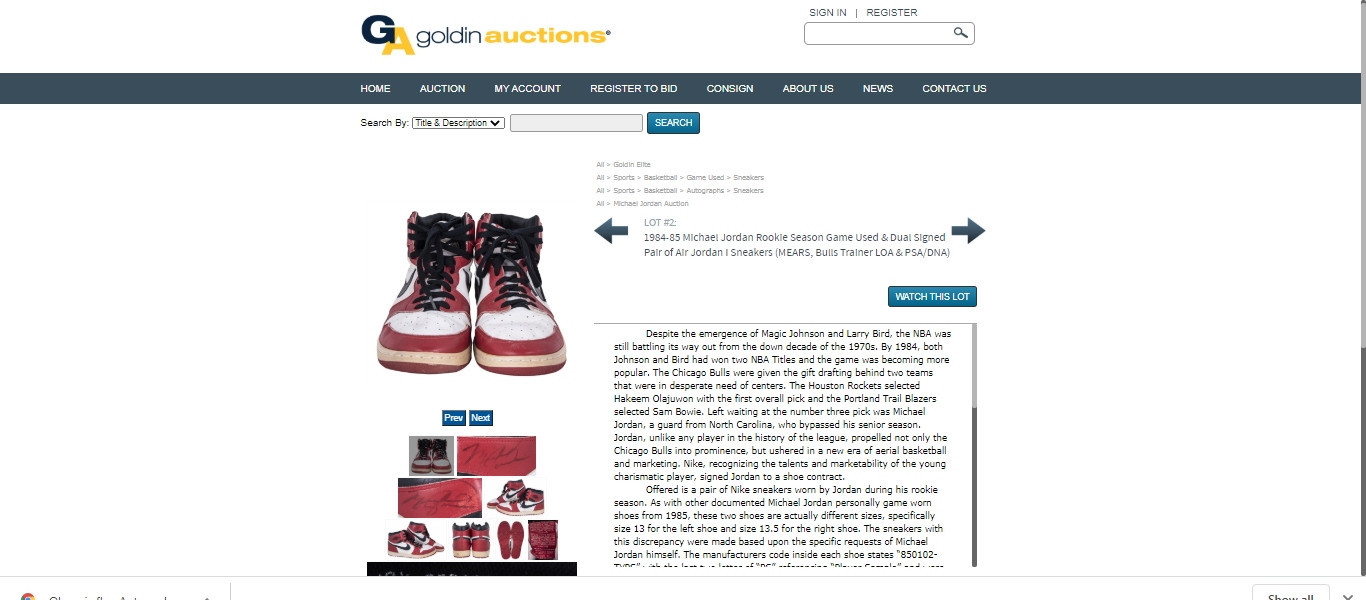 Michael Jordan memorabilia continues to attract high prices following The Last Dance with a pair of game-worn Nike Air Jordan 1s selling for $369,000 at Goldin Auction ©Goldin Auctions