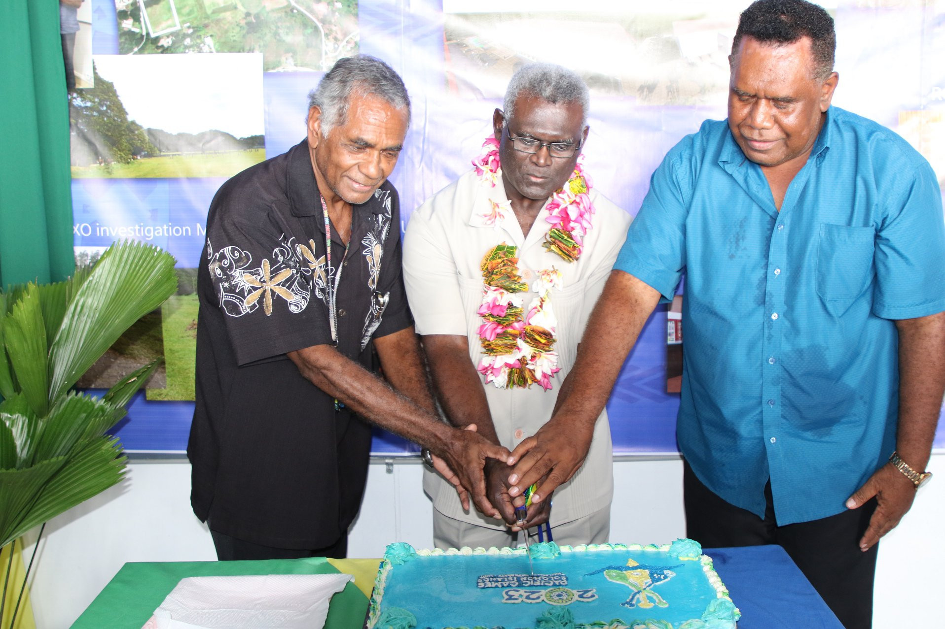 Solomon Islands Prime Minister Manasseh Sogavare, centre, officially opened the new offices for the 2023 Pacific Games in Honiara ©Solomon Islands Government